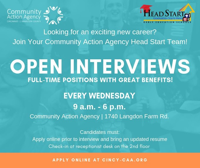 Open Interviews Every Wednesday - CAA & Head Start