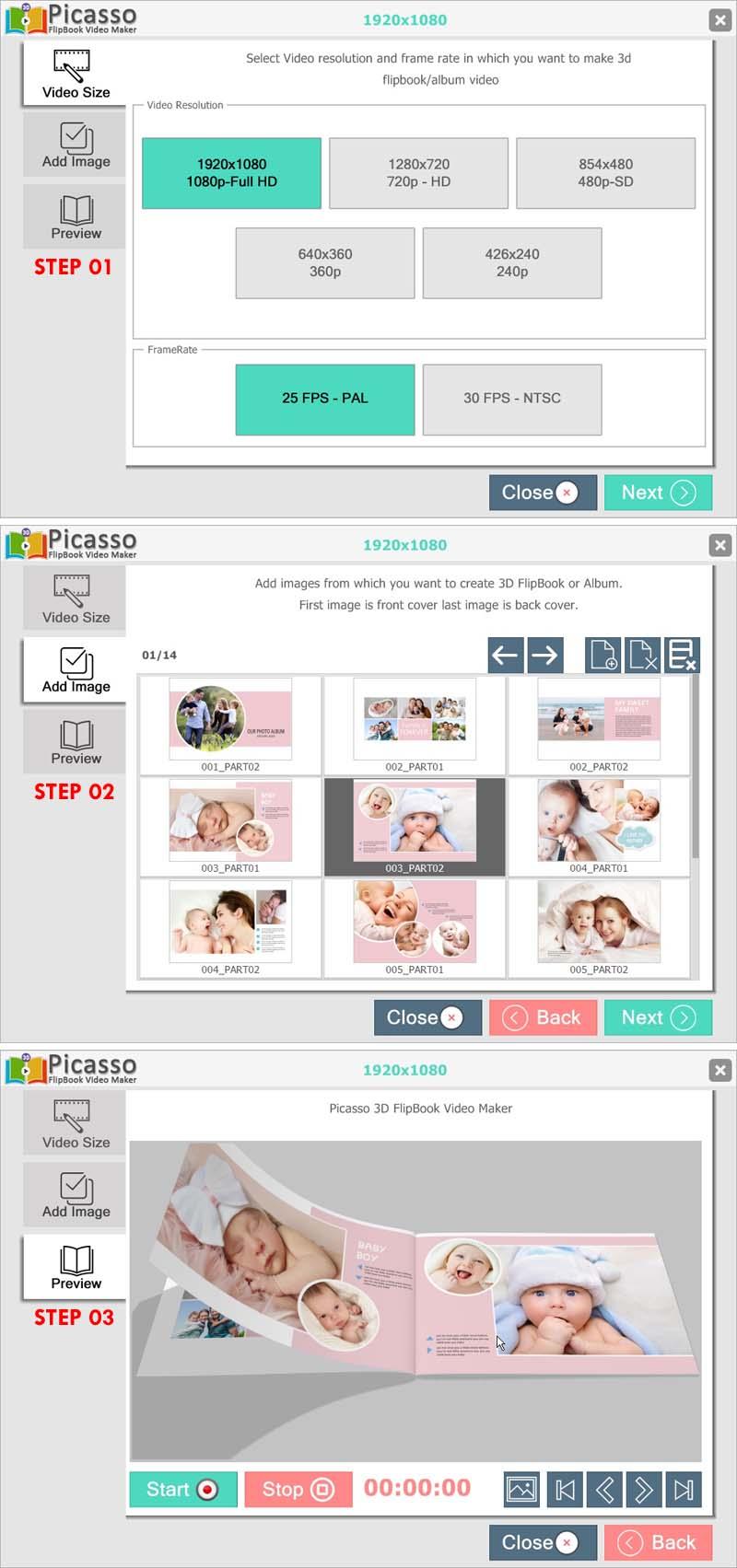 Picasso 3D FlipBook Video Maker