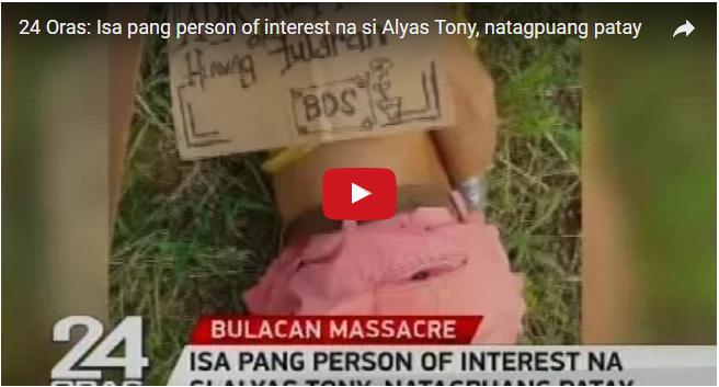 2sYTImH BREAKING NEWS! ISA PANG PERSON OF INTEREST SA BULACAN MA$$ACRE NA SI ALYAS TONI, NATAGPUANG PATAY..MUST WATCH THIS!