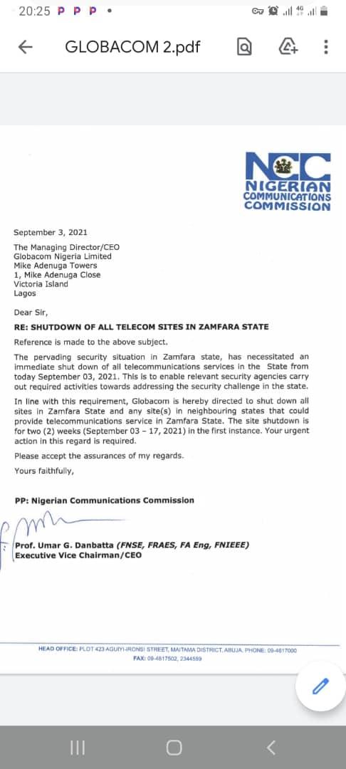 Network Shutdown in Zamfara