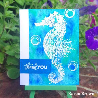 Heat embossed seahorse