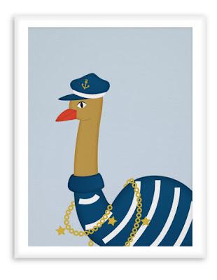 Nautical Poster Nursery - Sailor Ostrich