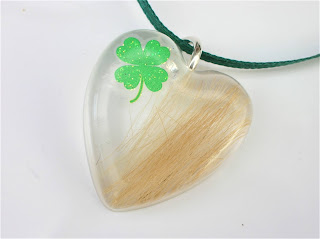 Hair keepsake pendant with Shamrock