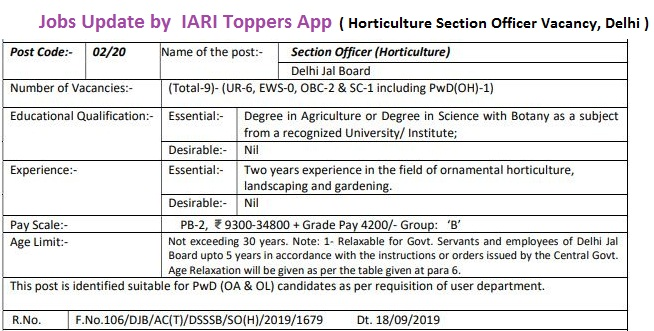 Horticulture section officer vacancy delhi 2020,DSSSB Agriculture vacancy 2020,horticulture section officer