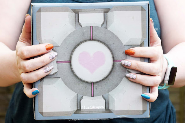 Espionage Cosmetics Nail Mail Monthly Buddy Block Nail Wraps nerdy nails companion cube portal