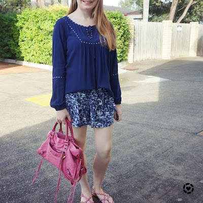 awayfromblue monochrome navy outfit printed shorts boho peasant top pink balenciaga accessories
