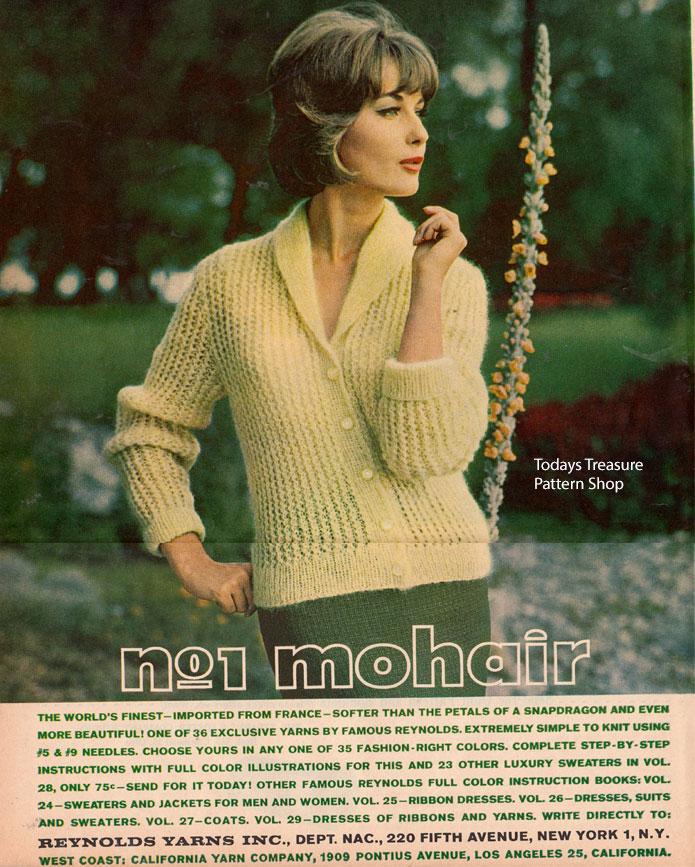 Vintage Knit Crochet - Bits of History: Reynolds No 1 Mohair Yarn