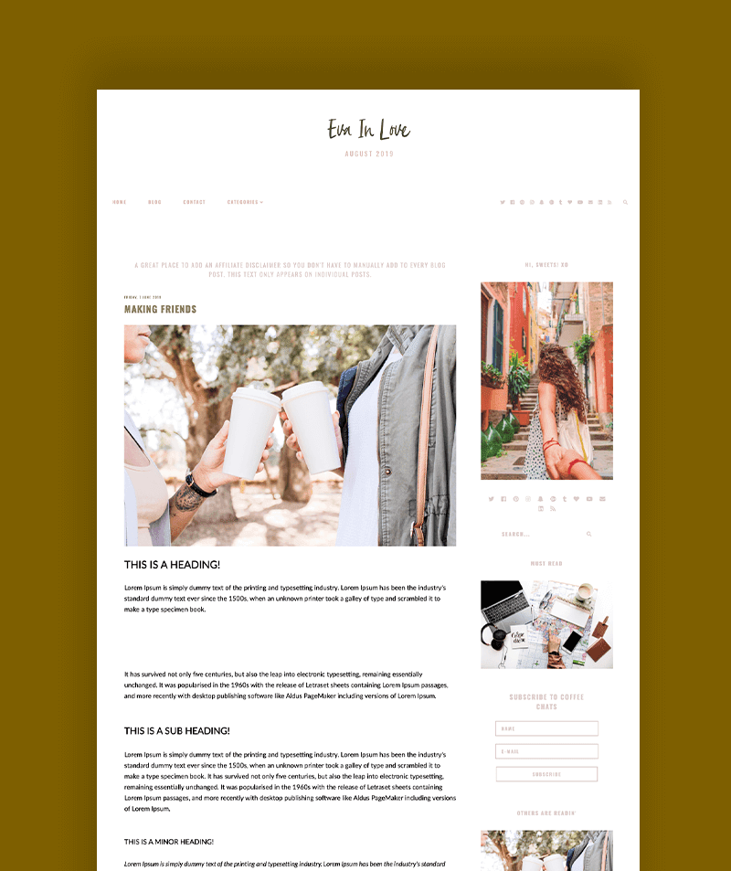 post page for Eva in love blogger theme