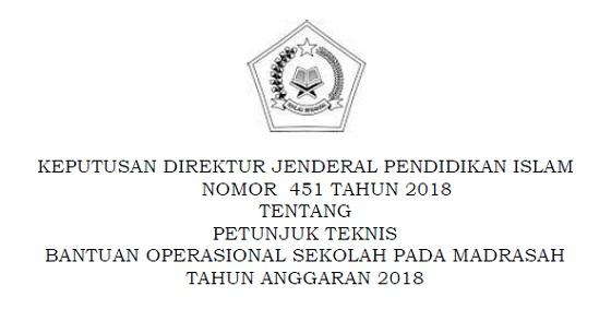 Petunjuk Teknis (Juknis) Bantuan Operasional Sekolah (BOS) Pada Madrasah Tahun 2018