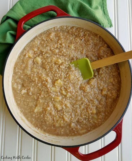 dutch oven full of apple pie steel cut oats