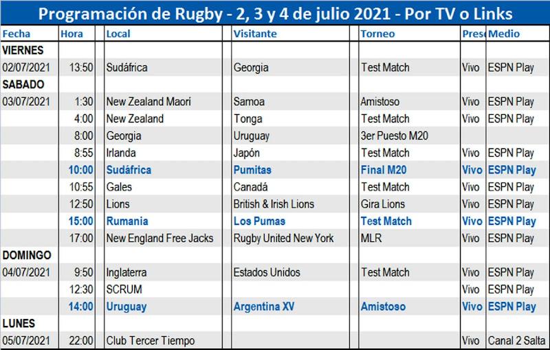 Programación de Tv #RugbyTV