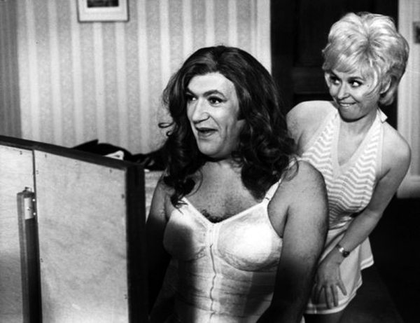 Bernard Bresslaw femulating in the 1973 British film Carry On Girls.