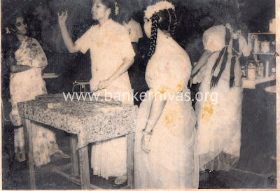 vintage picture of lady students in home economics class