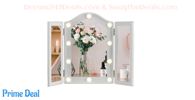 LUXFURNI Vanity Lighted Tri-fold Makeup Mirror  22%OFF