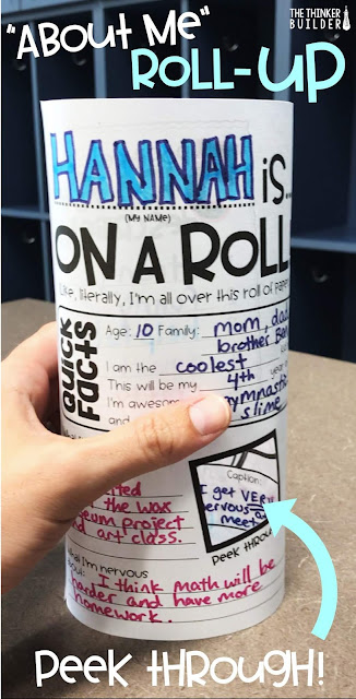"This ""About Me Roll-Up"" is perfect for the first week of school!  Students fill out the front and back get-to-know-you sections, cut out the peek-through windows, and then roll their paper and glue the edges, forming a stand up tube. Classmates and visitors can then see all the fun info by turning the roll-up around AND peeking through the windows! (The Thinker Builder)"