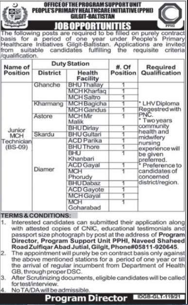 Peoples Primary Healthcare Initiative PPHI Gilgit Jobs 2021