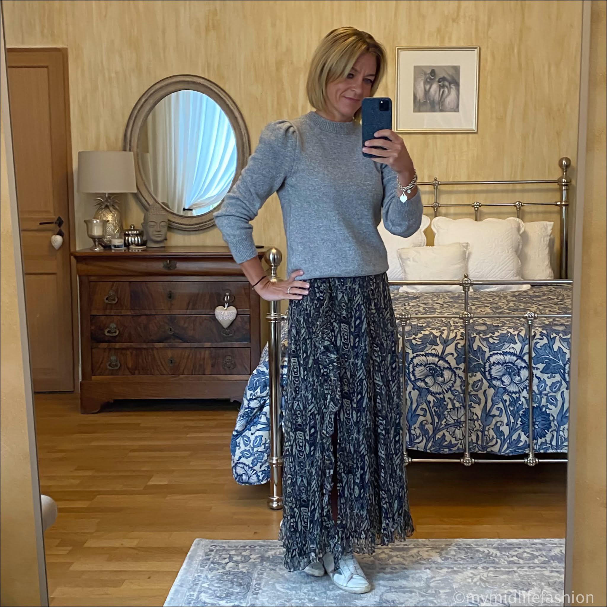 my midlife fashion, baukjen Shannon Jumper, iro Paris maxi skirt, golden goose superstar low top leather trainers