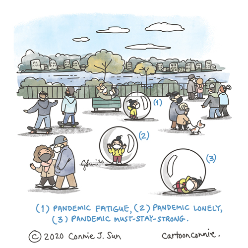 Illustration of a park scene where people are social distancing with masks and there's a lone character in a bubble. Illustration text: (1) pandemic fatigue; (2) pandemic lonely; (3) pandemic must-stay-strong. Sketchbook drawing about loneliness in a pandemic, by connie sun, cartoonconnie