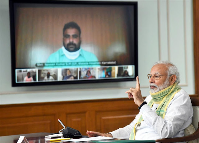 Prime Minister Narendra Modi interacted with Sarpanchs of Gram Panchayats throughout the country today through Video Conferencing,New Delhi Cables