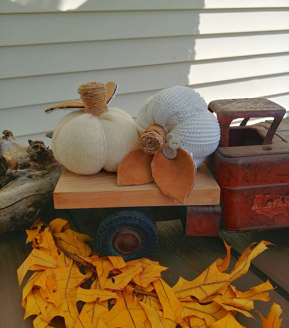 Upcycled Sweater Sleeve Pumpkins