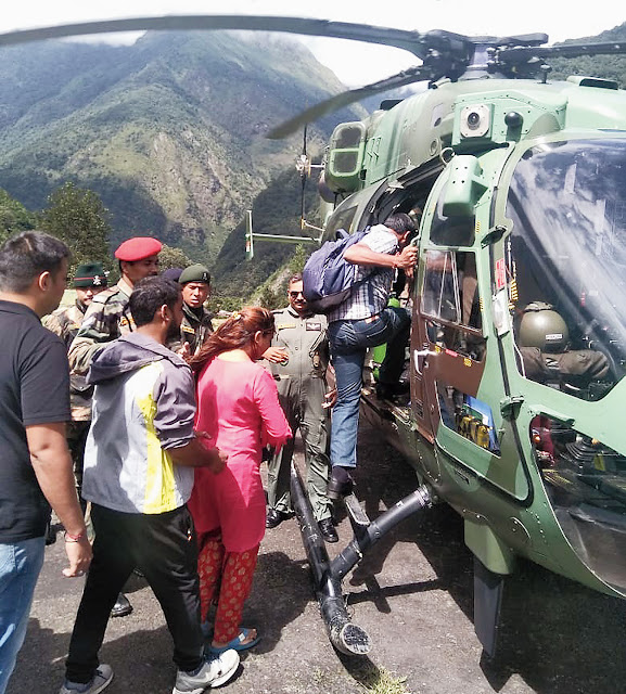 Tourists airlifted from from rain-ravaged North Sikkim