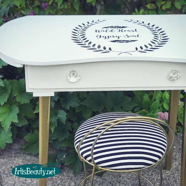 WILD HEART GYPSY SOUL STENCILED VINTAGE DRESSING TABLE MAKEOVER BEFORE AND AFTER