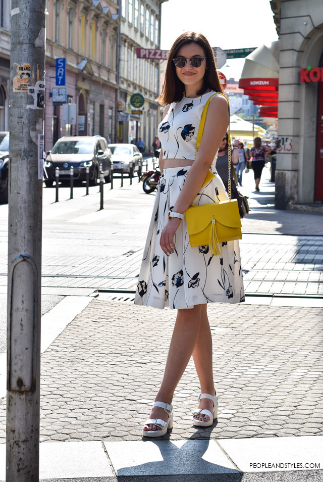 Hot to wear cropped top and a midi skirt, street style summer fashion inspiration; Ljetni stajling za inspiraciju - ulična moda, Lucija Lisica