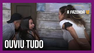A Fazenda 12 – Biel discute com Tays – Peões escutam conversa entre Lidi e Tays