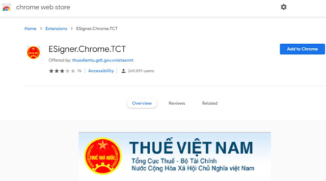 tiện ích mở rộng ESigner.Chrome.TCT  cho Google chrome