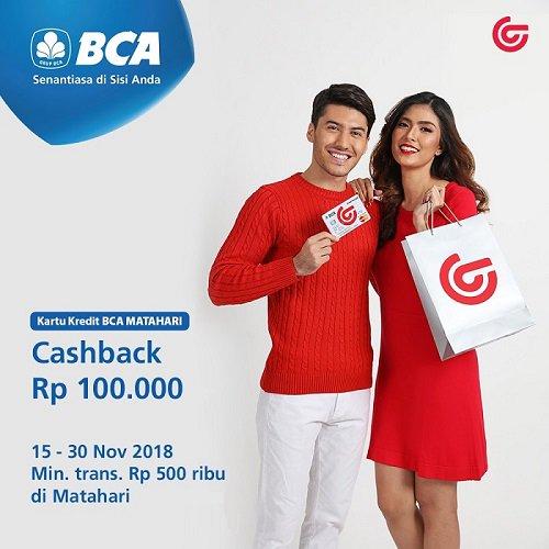 Matahari - Promo Cashback 100 Ribu Pakai BCA Matahari (s.d 30 Nov 2018)