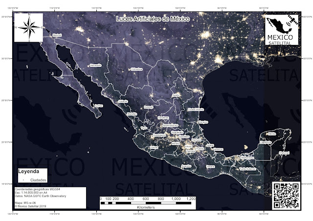 Luces artificiales y ciudades de Mexico