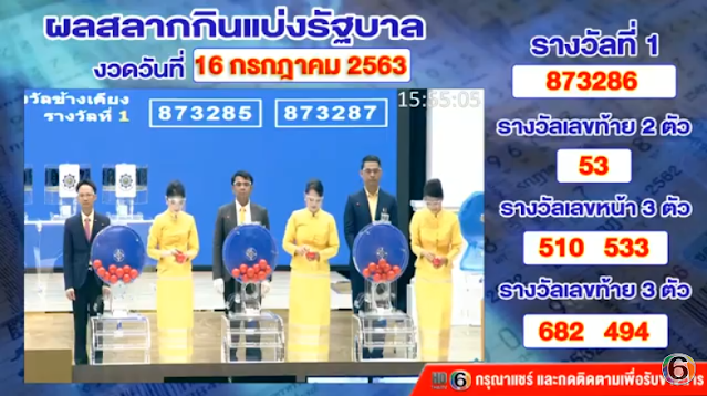 Thai Lottery Live Result Today Online Streaming Facebook 16 July 2020
