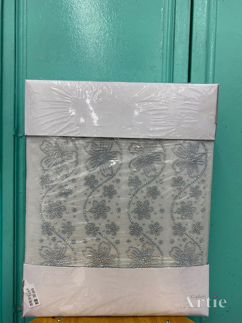 Pelekat hotfix sticker rhinestone DMC aplikasi tudung bawal fabrik pakaian design bunga kelopak buka