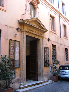 The historic headquarters of the Accademia was in central Rome, near Piazza di Spagna