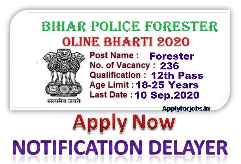 Bihar Police Forester Online Bharti 2020, Bihar Police 2020, apply for jobs.