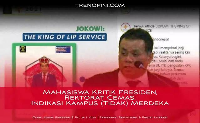 """Melalui akun instagramnya, @bemui_official, BEM UI memposting poster yang bernada kritikan terhadap presiden Joko Widodo. Poster tersebut memuat foto Jokowi dengan tambahan aksesoris mahkota dan tulisan """"The King of Lip Service"""". Unggahan tersebut disertai caption berupa kalimat proses """"Halo, UI dan Indonesia! Jokowi kerapkali mengobral janji, tetapi relitasnya sering kali tak selaras. Katanya begini, faktanya begitu. Mulai dari rindu didemo, revisi UU ITE, penguatan KPK, dan rentetan janji lainnya. Semua mengindiksikan bahwa pernyataan yang dilontarkan tidak lebih dari sekadar bentuk """"Lip service"""" semata. Berhenti membual, rakyat sudah mual!""""."""