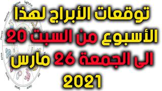 توقعات الأبراج لهذا الأسبوع من السبت 13 الى الجمعة 19 مارس 2021