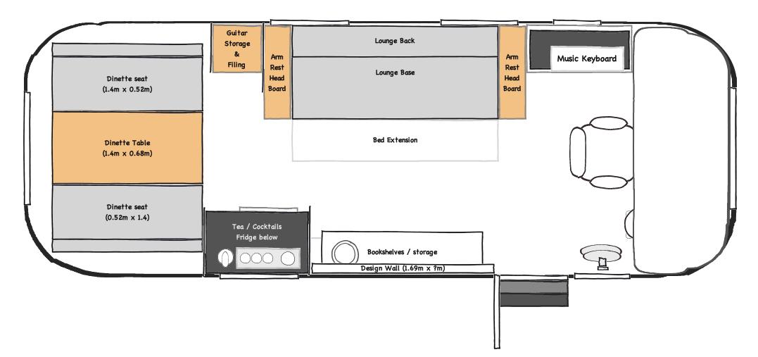 Australian Airstream Trailer: Design: Floorplans
