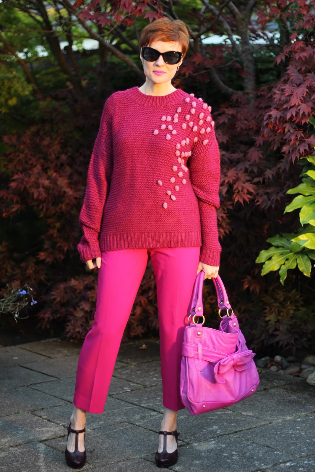 All Pink Monochrome Outfit | Bobble Jumper & Magenta Bag