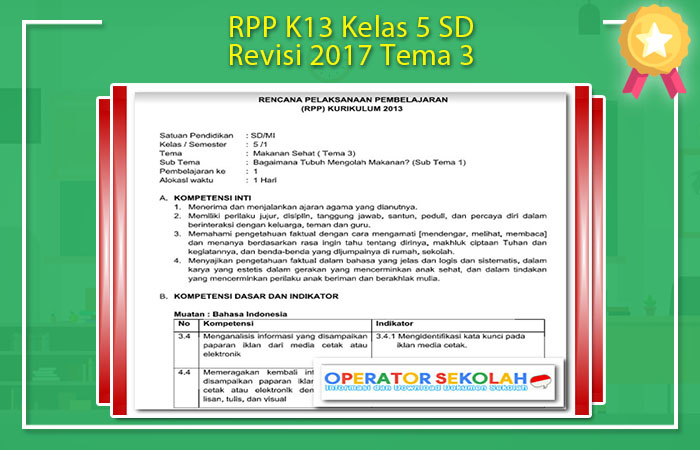 RPP K13 Kelas 5 SD Revisi 2017 Tema 3