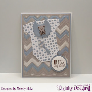 Divinity Designs Stamp Set: Sweet Baby, Custom Dies:  Baby Blessings, Chevron Background, Circles, Double Stitched Circles, Paper Collection: Baby Boy