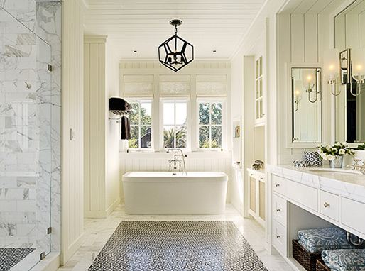 master bathroom with dodecahedron light and stand alone tub