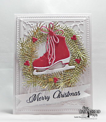 Our Daily Bread Designs Stamp Set: Card Greetings, Paper Collections: Christmas Coordinating 2015, Christmas 2015, Custom Dies: Ice Skate, Pine Branches, Snowflake Sky, Windowsill Candles