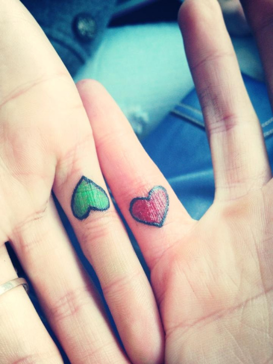 Matching Heart Tattoos For Couple