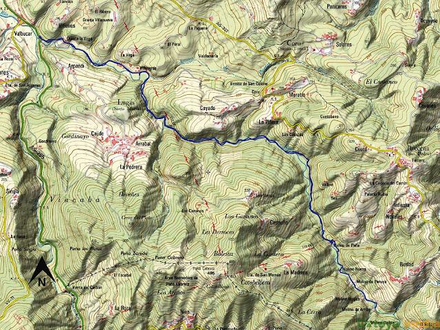 Mapa de la ruta de los molinos del río profundo.