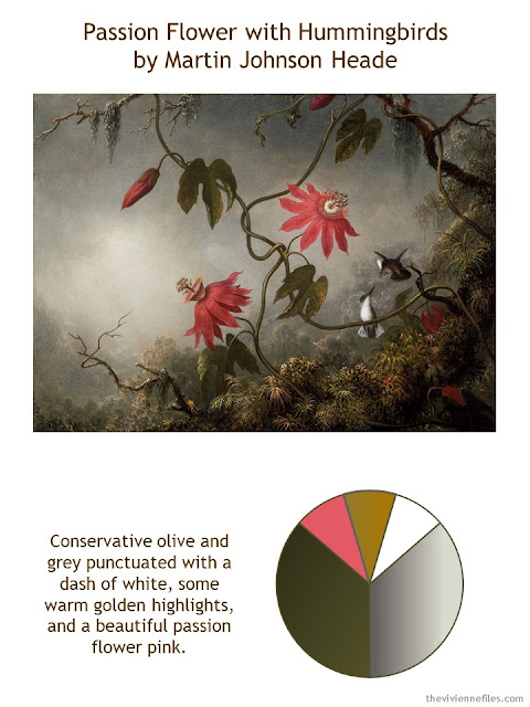 Passion Flower with Hummingbirds by Martin Johnson Heade with style guidelines and color palette