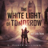 The White Light of Tomorrow audiobook cover. A knight and young squire stand together before a cityscape.