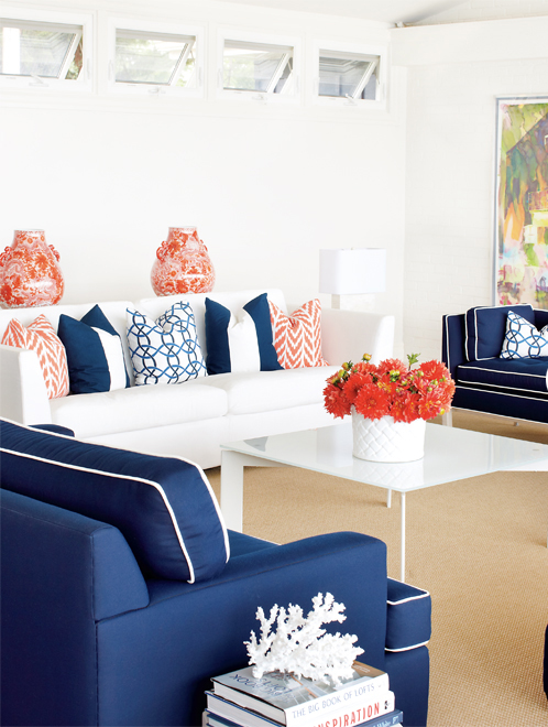 Blue And Orange Living Room Ideas: Color Combination: Orange & Navy Blue