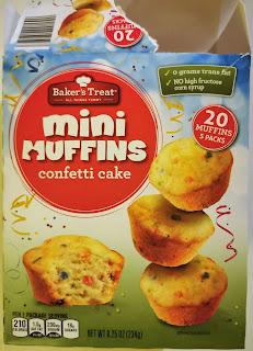 A box of Baker's Corner Confetti Cake Mini Muffins, from Aldi