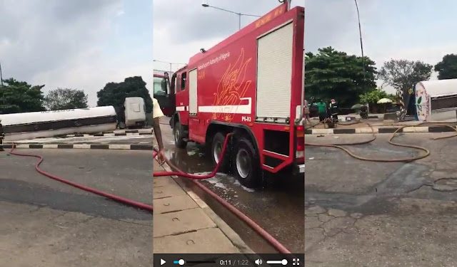 Petrol Tanker Fell On Airport Road Ikeja, Lagos State (Photos+Video)